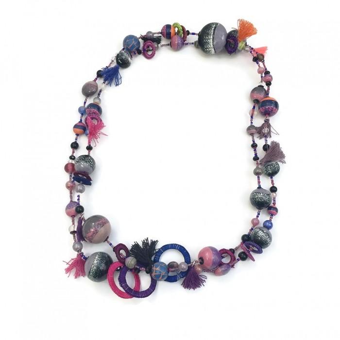 Long necklace - Purple - Splash