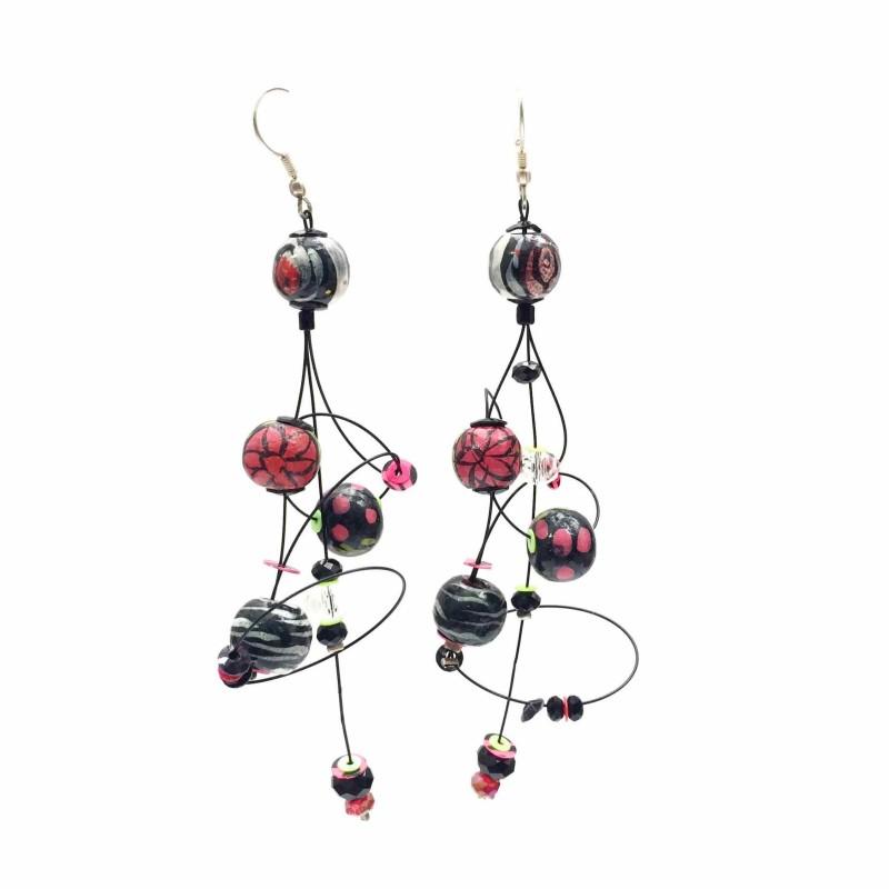 Ellipse earrings 9 cm - Black - Splash