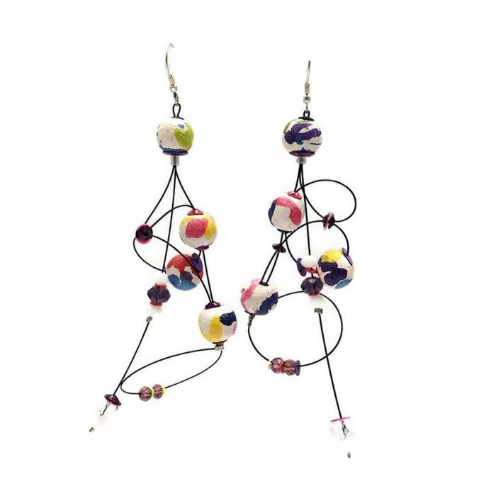 Boucles d'oreille Ellipse 9 cm - Multicolore - Splash