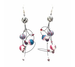 Boucles d'oreille Ellipse 9 cm - Zèbre - Splash