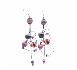 Earrings Ellipse earrings 9 cm - Purple - Splash Babachic by Moodywood