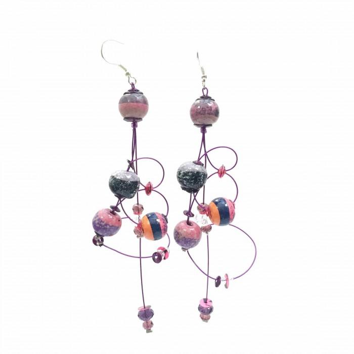 Ellipse earrings 9 cm - Purple - Splash
