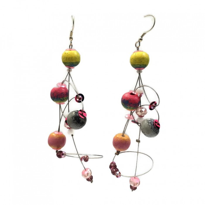 Ellipse earrings 9 cm - Moon - Splash