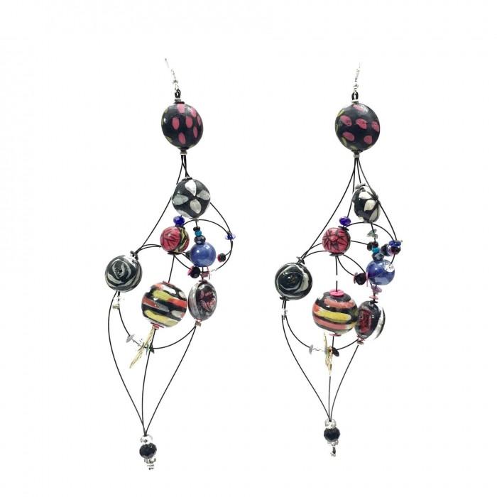 Duchess earrings 16 cm - Black - Splash