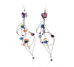 Boucles d'oreille Duchesse 16 cm - Multicolore - Splash