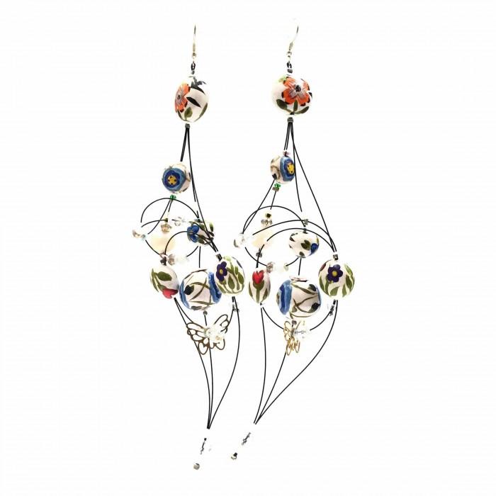 Boucles d'oreille Duchesse 16 cm - Fleur - Splash