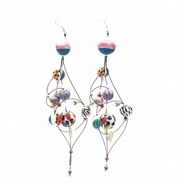Duchess earrings 16 cm - Zebra - Splash
