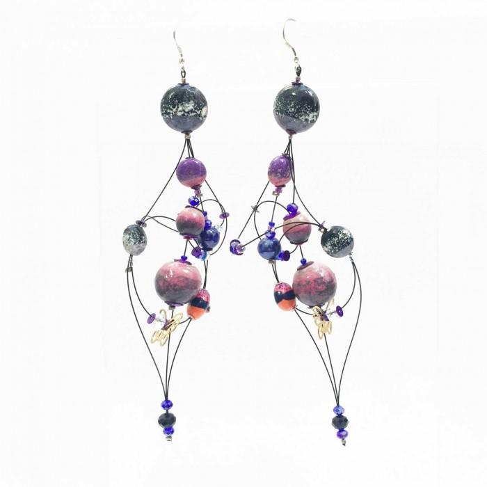 Duchess earrings 16 cm - Purple - Splash
