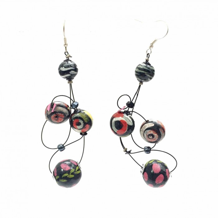 Loop earrings 7 cm - Black - Splash