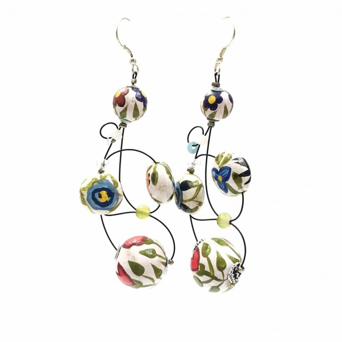 Loop earrings 7 cm - Flower - Splash