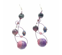 Earrings Loop earrings 7 cm - Purple - Splash Babachic by Moodywood