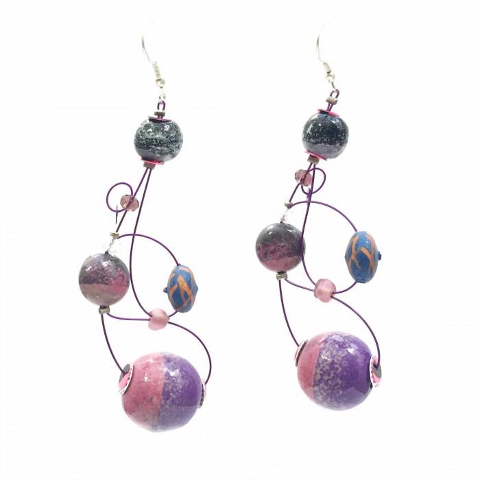 Loop earrings 7 cm - Purple - Splash