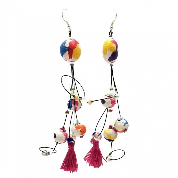 Pampille earrings 12 cm - Multicolor - Splash