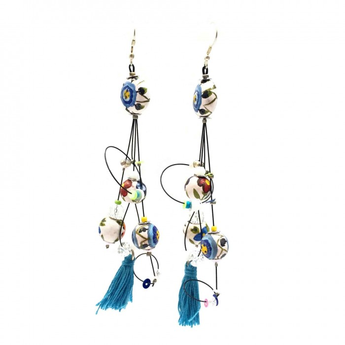 Pampille earrings 12 cm - Flower - Splash