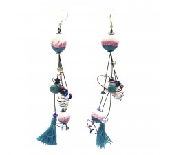 Boucles d'oreille Pampille 12 cm - Zèbre - Splash