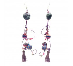 Pampille earrings 12 cm - Purple - Splash