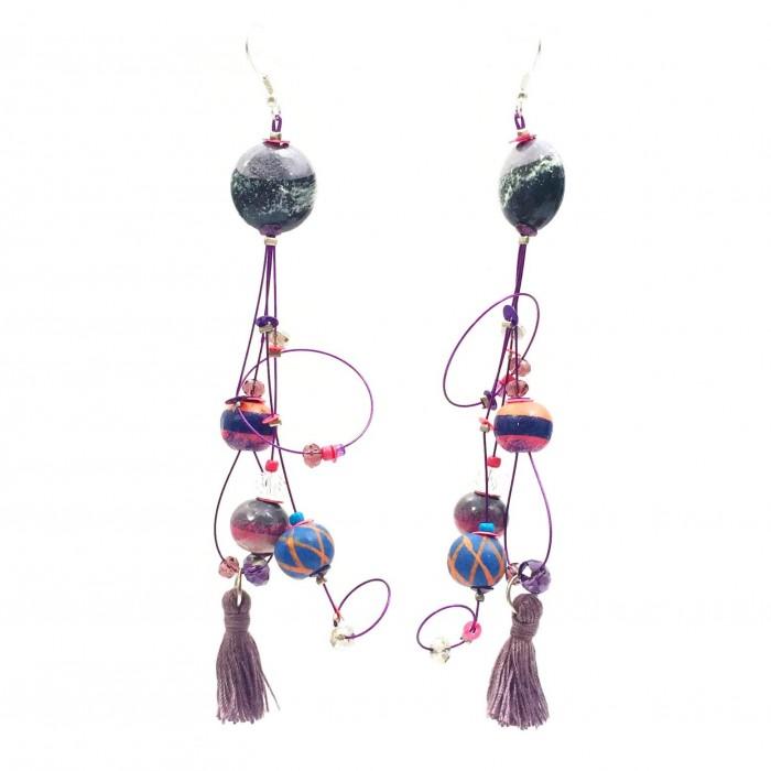 Boucles d'oreille Pampille 12 cm - Violet - Splash