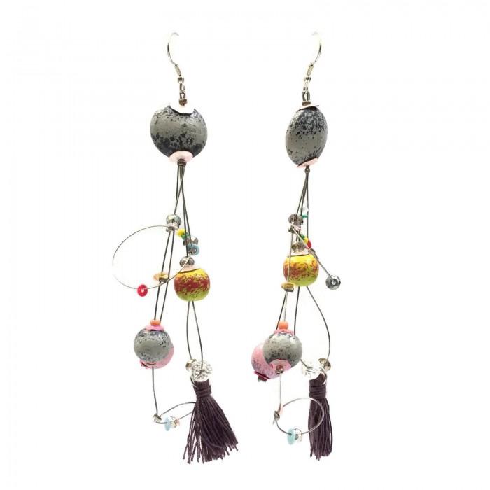 Boucles d'oreille Pampille 12 cm - Lune - Splash