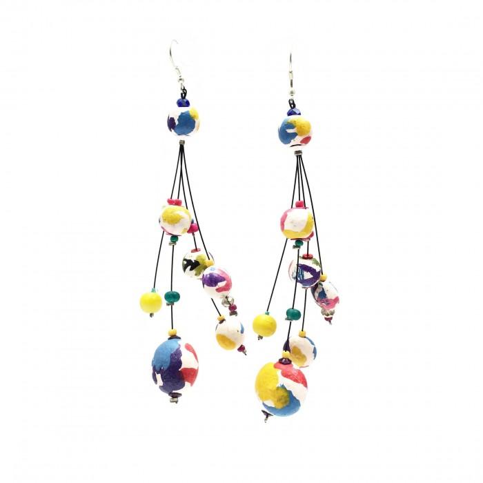 Boucles d'oreille Goute 12 cm - Multicolores - Splash