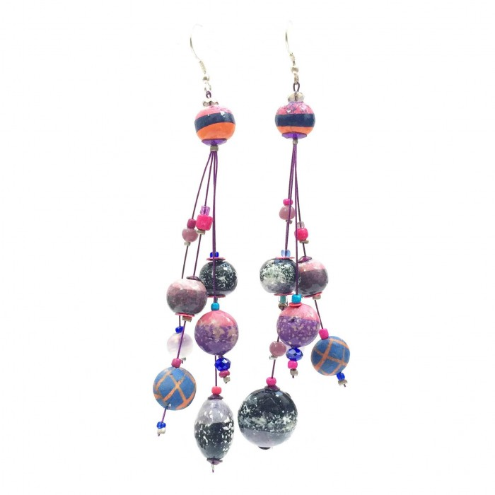 Drop earrings 12 cm - Purple - Splash