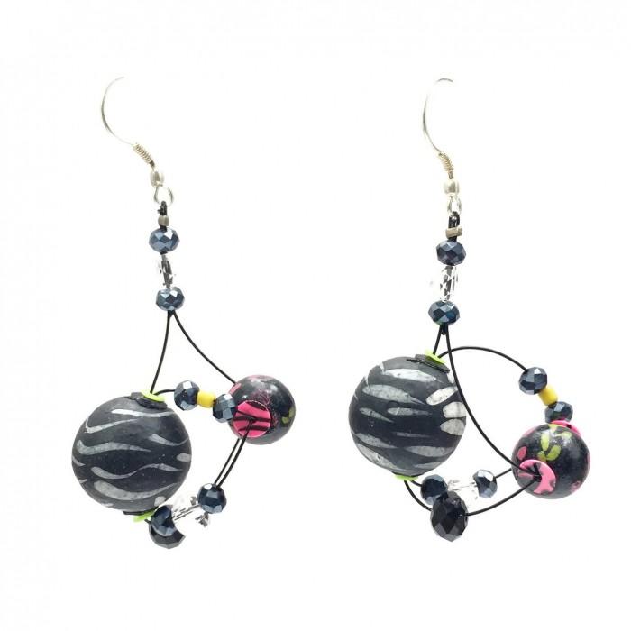 Drop earrings 4 cm - Black - Splash