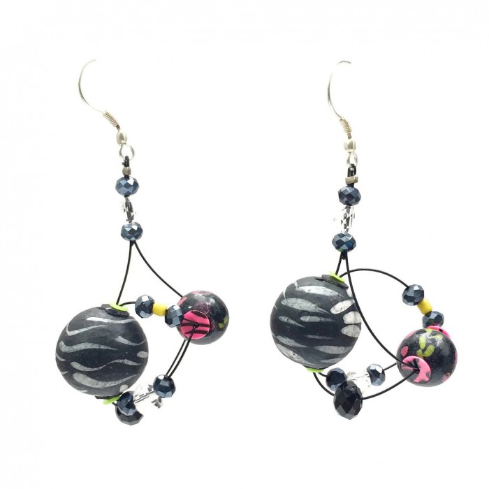 Boucles d'oreille Drop 4 cm - Noir - Splash