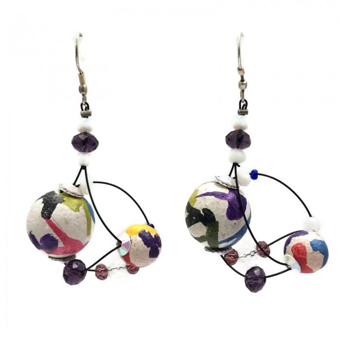 Drop earrings 4 cm - Multicolor - Splash