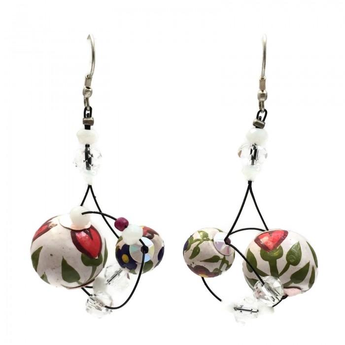 Drop earrings 4 cm - Flower - Splash