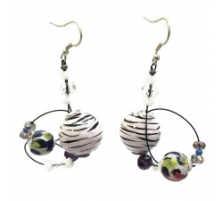 Drop earrings 4 cm - Zebra  - Splash