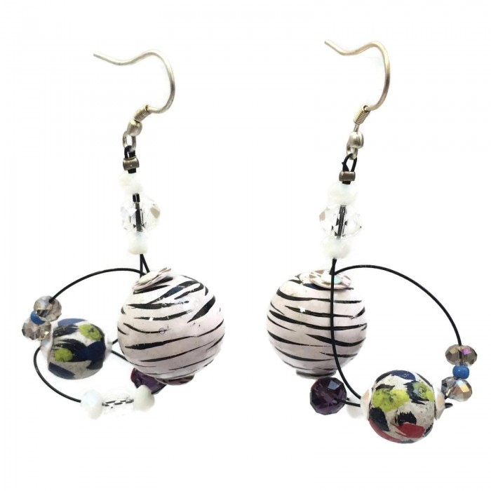 Boucles d'oreille Drop 4 cm - Zèbre - Splash
