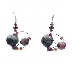 Boucles d'oreille Drop 4 cm - Violet - Splash