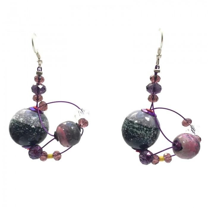 Drop earrings 4 cm - Purple - Splash