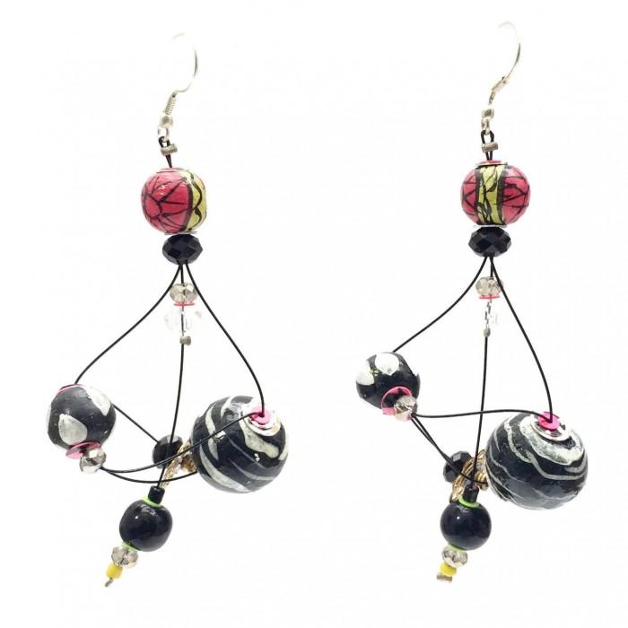 Rosace earrings 7 cm - Black - Splash