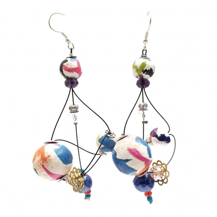 Rosace earrings 7 cm - Multicolor - Splash