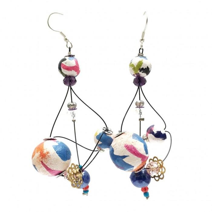 Boucles d'oreille Rosace 7 cm - Multicolores - Splash