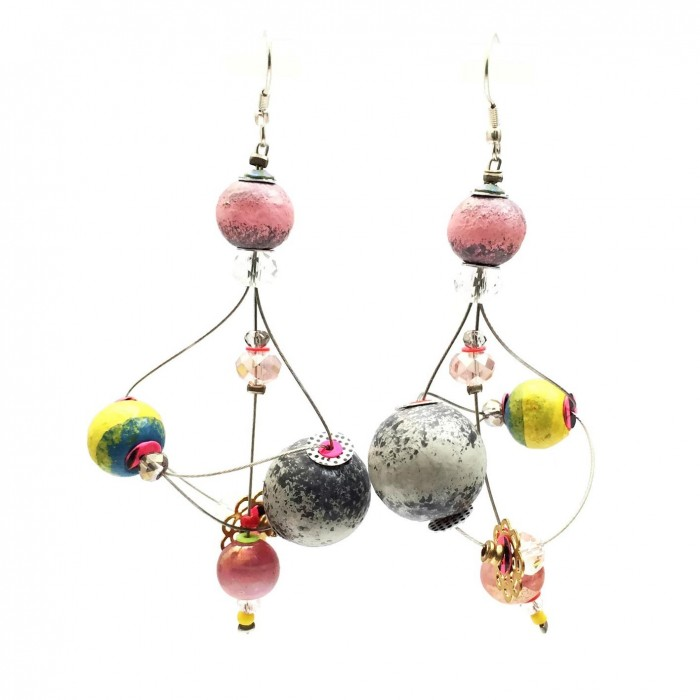Boucles d'oreille Rosace 7 cm - Lune - Splash