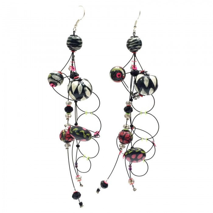 Torsade earrings 16 cm - Black - Splash