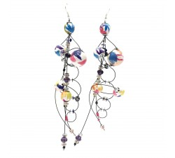 Boucles d'oreille Torsade 16 cm - Multicolores - Splash