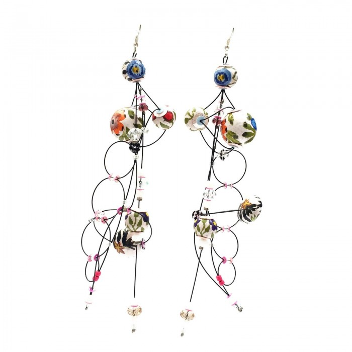 Boucles d'oreille Torsade 16 cm - Fleur - Splash