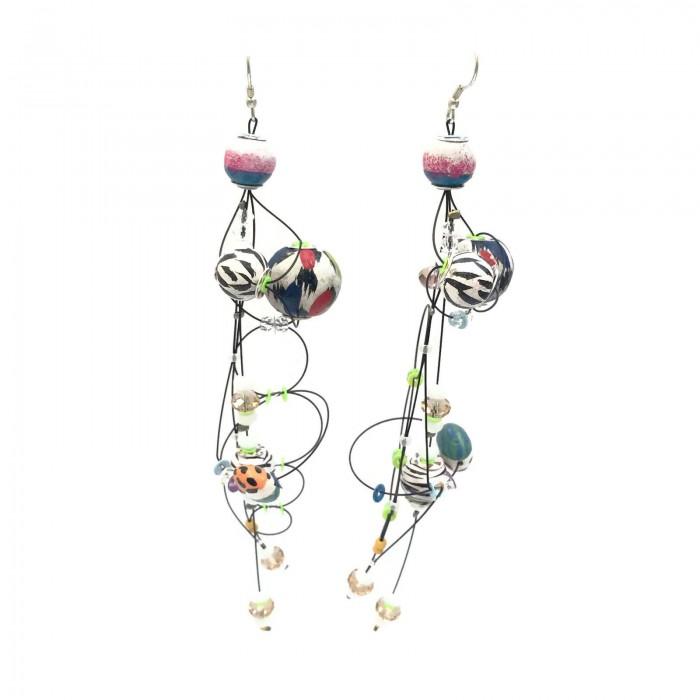 Torsade earrings 16 cm - Zebra - Splash