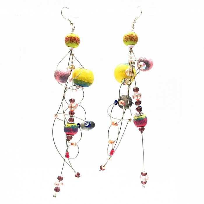 Boucles d'oreille Torsade 16 cm - Lune - Splash