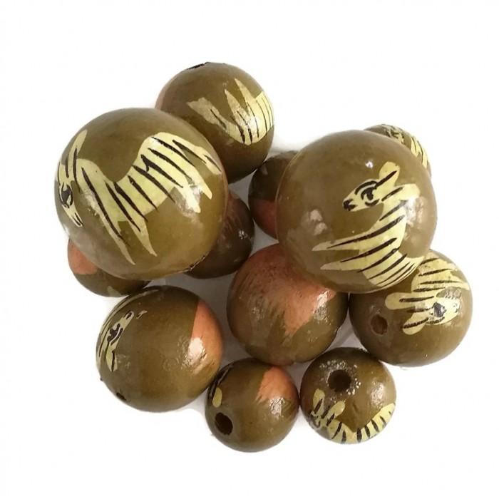 Perles en bois - Zèbre - Marron et rose