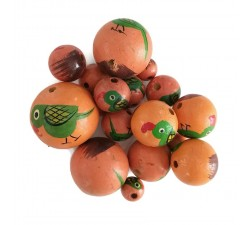 Animals Wooden beads - Parrot - Green and salmon Babachic by Moodywood