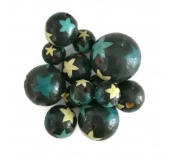 Stars Wooden beads - Stars - Blue Babachic by Moodywood