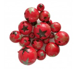 Red Wooden beads - Stars - Red, black and grey Babachic by Moodywood