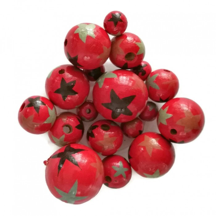Wooden beads - Stars - Red, black and grey