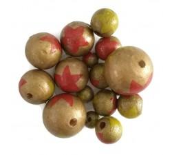 Stars Wooden beads - Stars - Gold