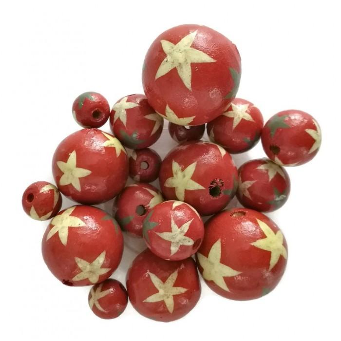 Perles en bois - Etoiles - Rouge
