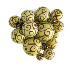 Twirls Wooden beads - Twirls - Yellow and eggplant Babachic by Moodywood
