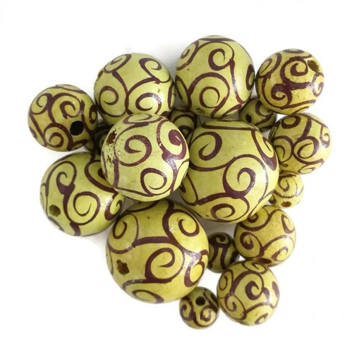 Wooden beads - Twirls - Yellow and eggplant
